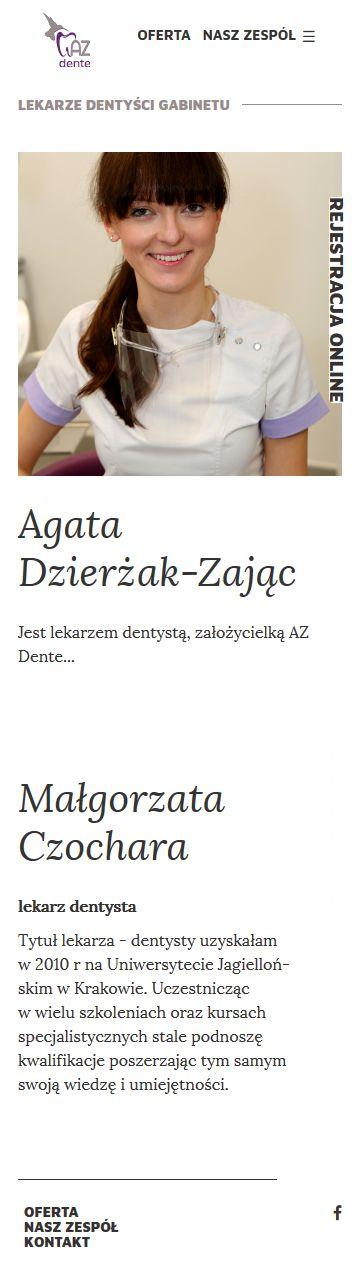 Projekt strony internetowej AZDente | UX UI Design