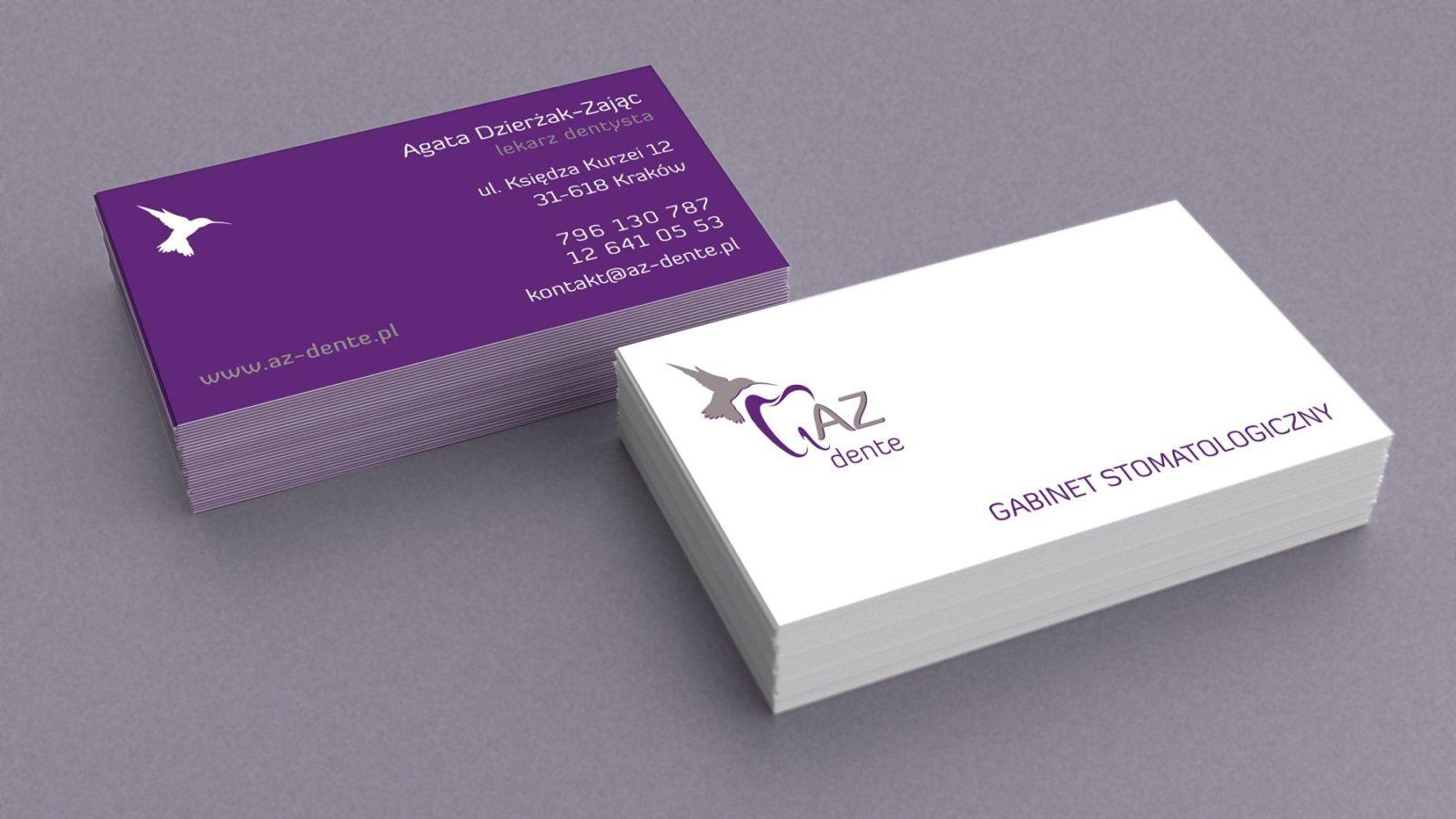 Projekt wizytówek dla AZ Dente | branding | identyfikacja wizualna