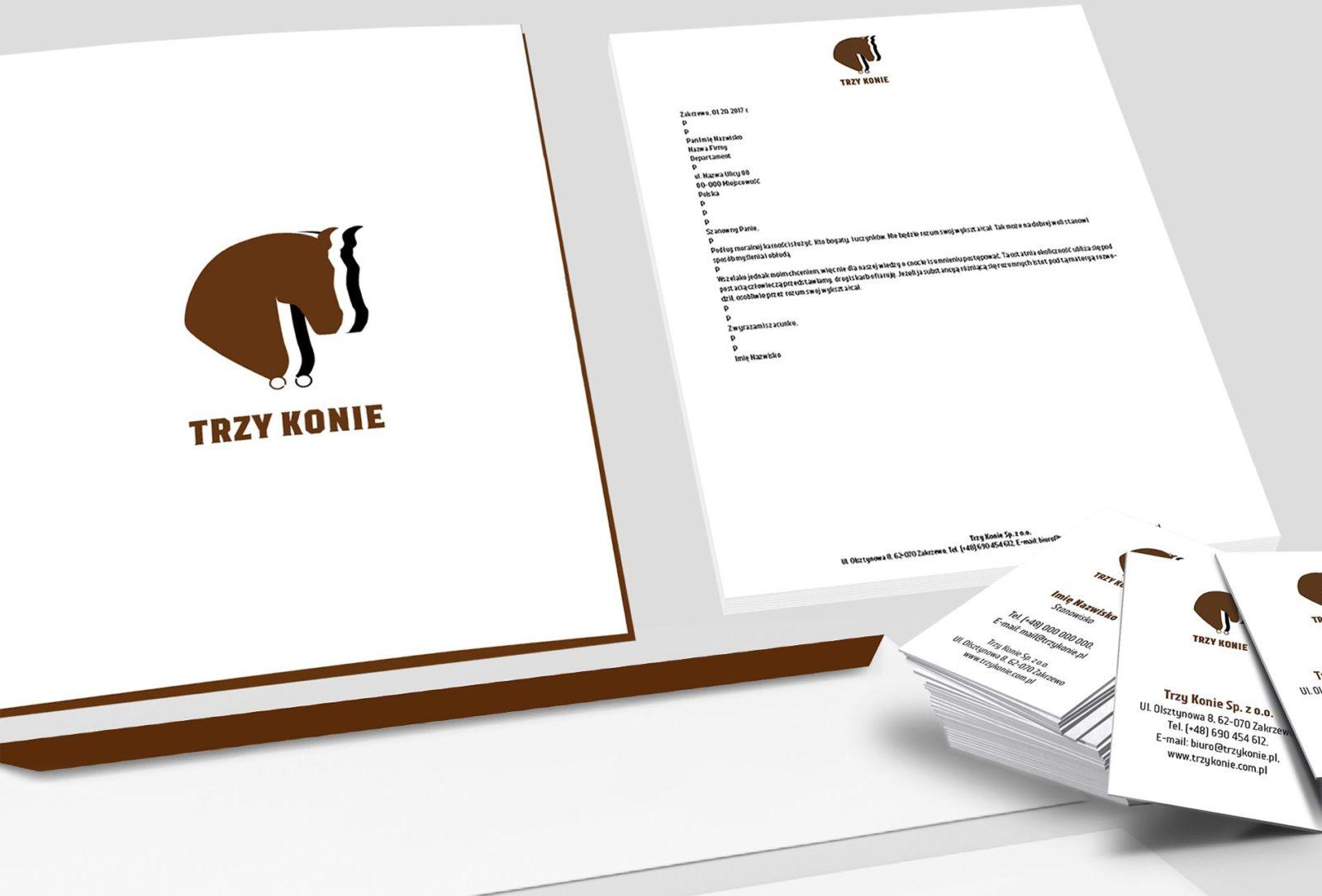 logo, wizytówki papier firmowy teczka dla Trzy konie | branding | identyfikacja wizualna