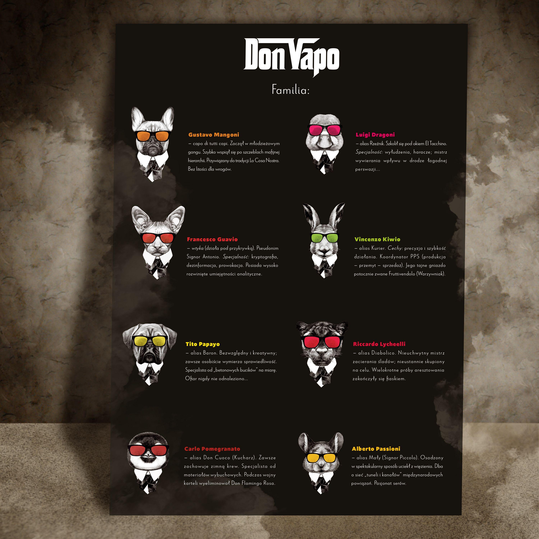 Plakat dla opakowań premixów Don Vapo