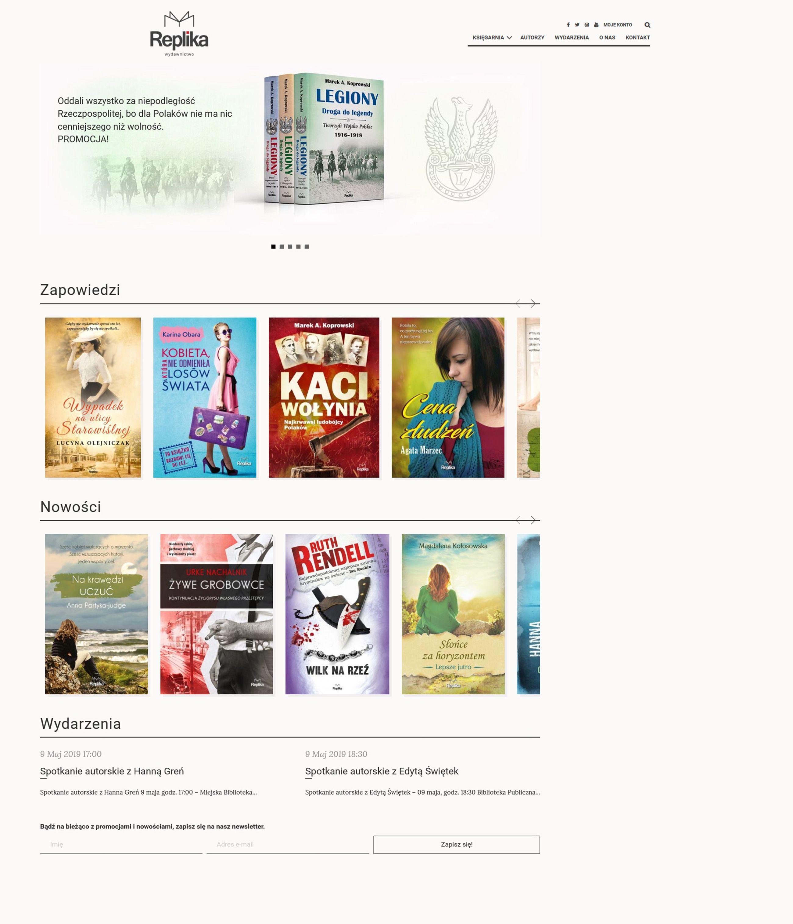 Projekt strony i sklepu www dla wydawnictwa Replika