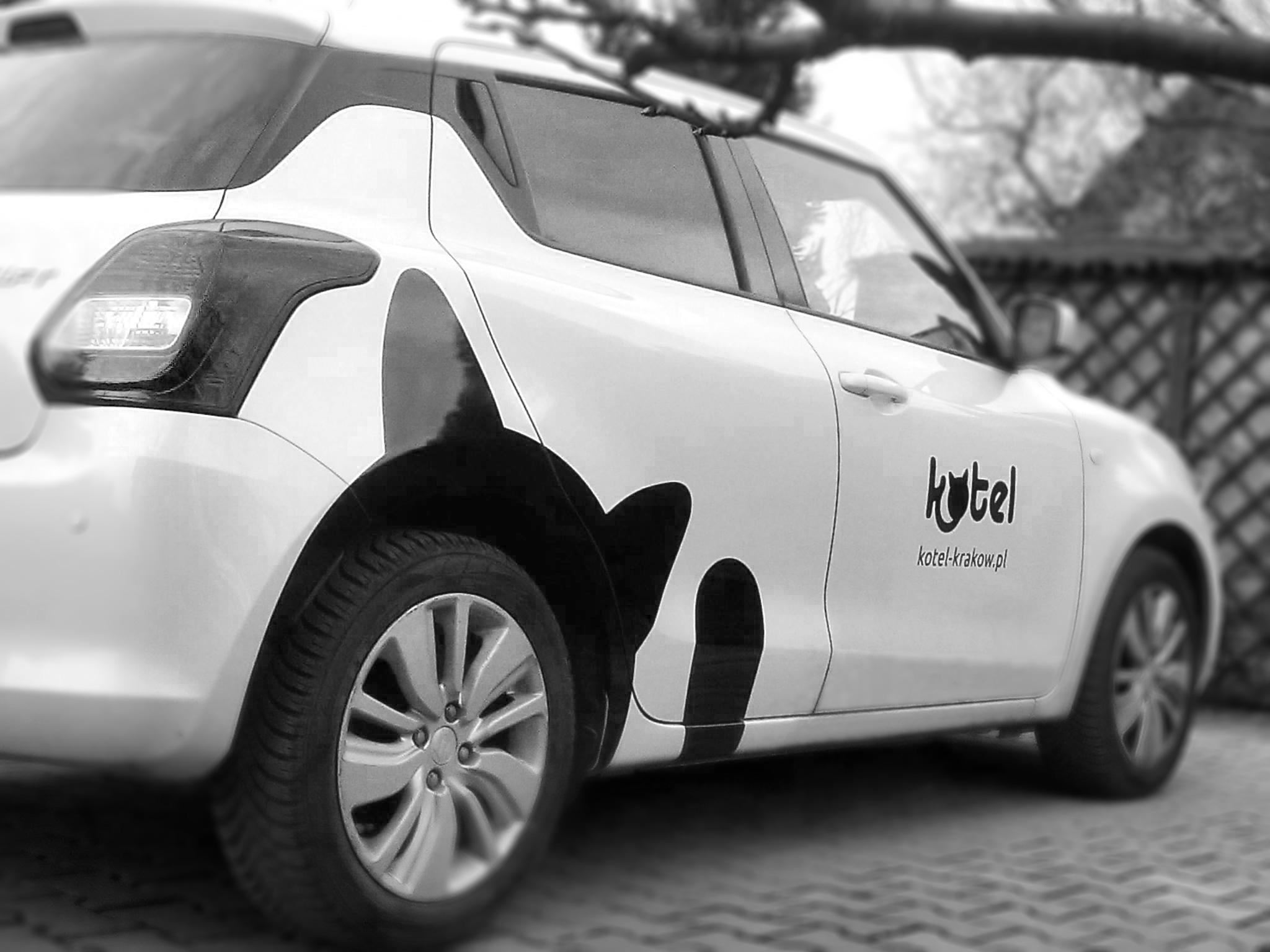 projekt naklejki na samochód dla Kotel | branding | identyfikacja wizualna