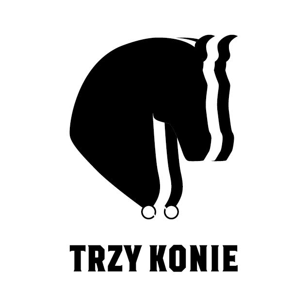 projekt logo 3 konie czarne na bieli | branding | identyfikacja wizualna