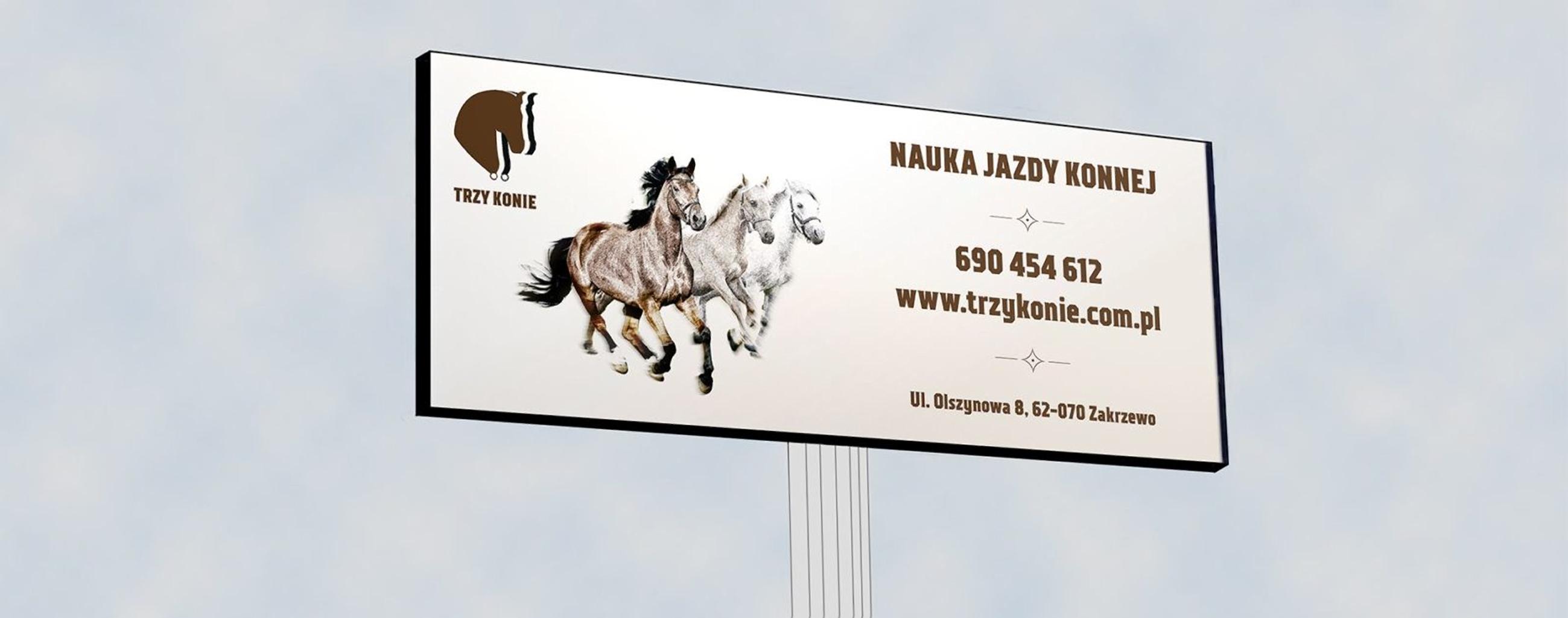 projekt billboardu dla 3 konie | branding | identyfikacja wizualna