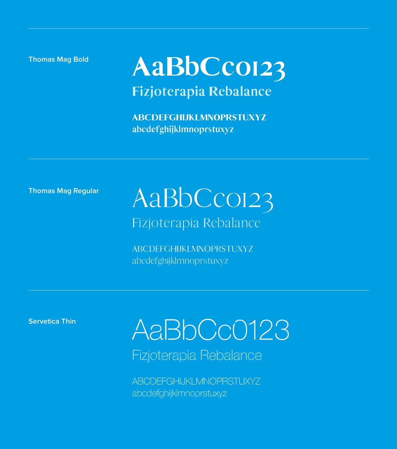 Typografia firmowa dla Rebalance | branding | identyfikacja wizualna