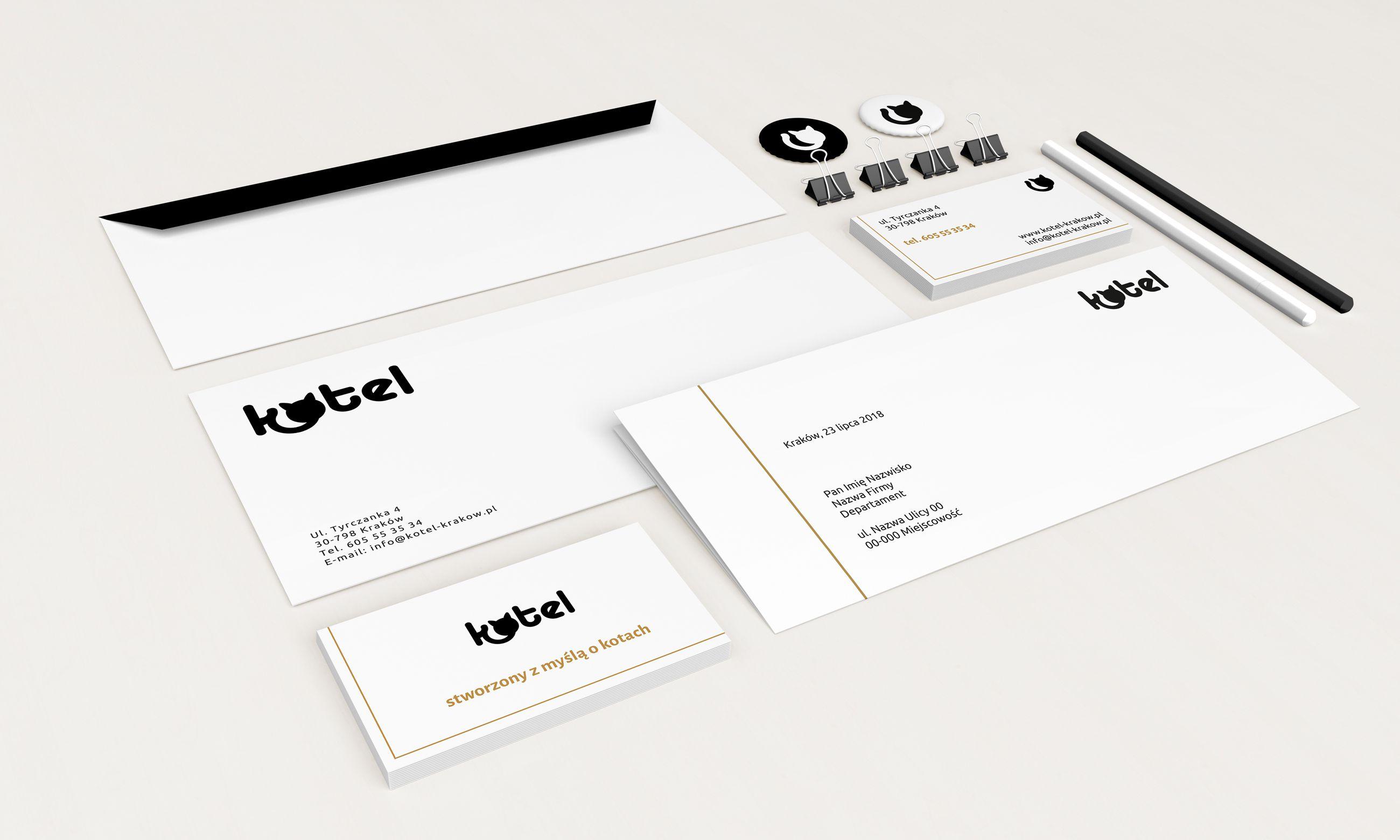 Logo, papier firmowy, koperta,wizytówki, gadżety reklamowe dla Kotel