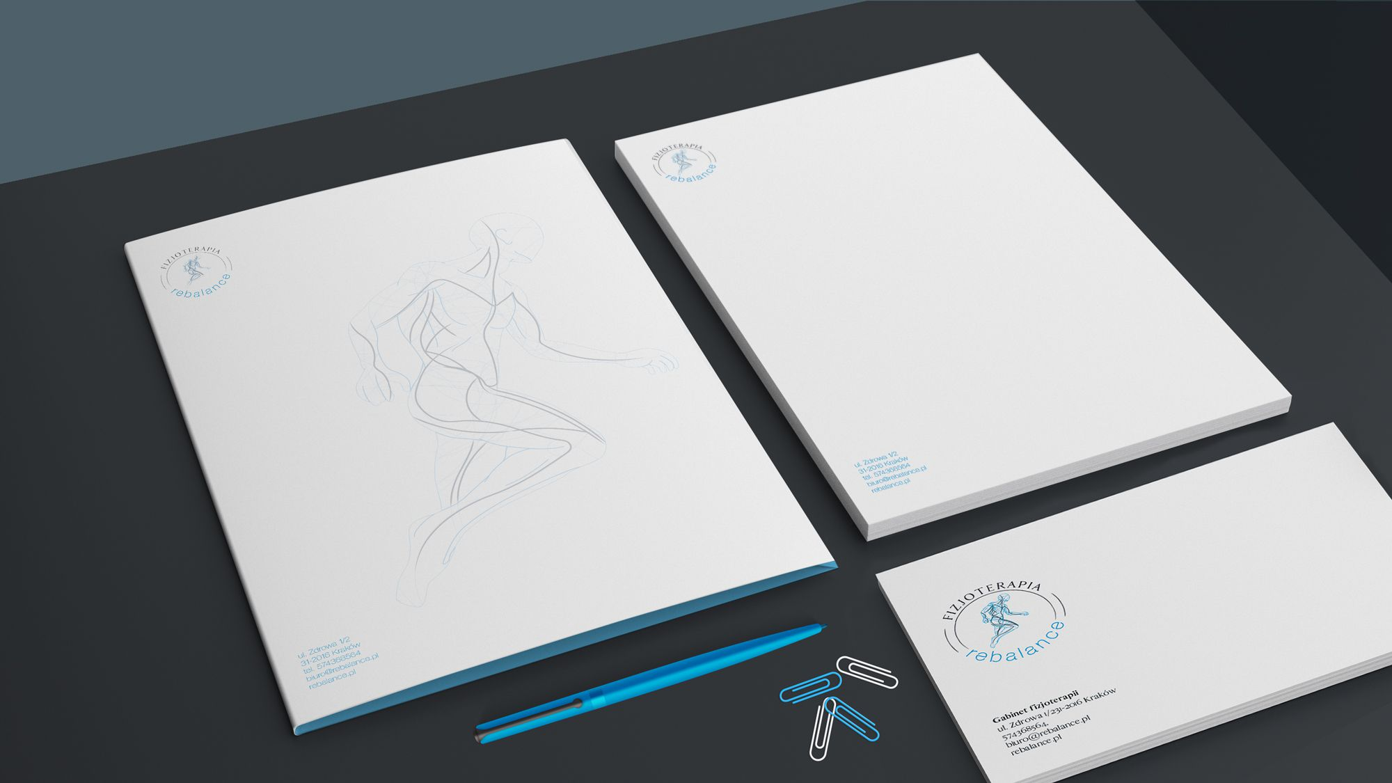 Logo, papier firmowy, materiały reklamowe dla Rebalance
