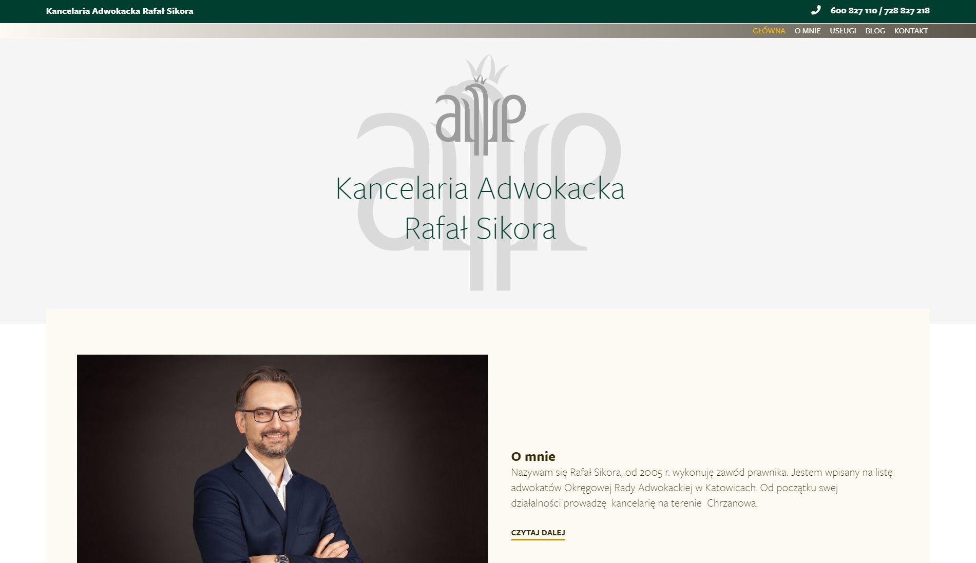 Projekt strony www dla Kancelarii Adwokackiej Rafała Sikory (Strona główna)ł